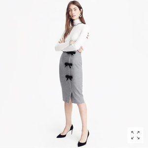 J. Crew Bow 100% Wool Gray Black Pencil Skirt